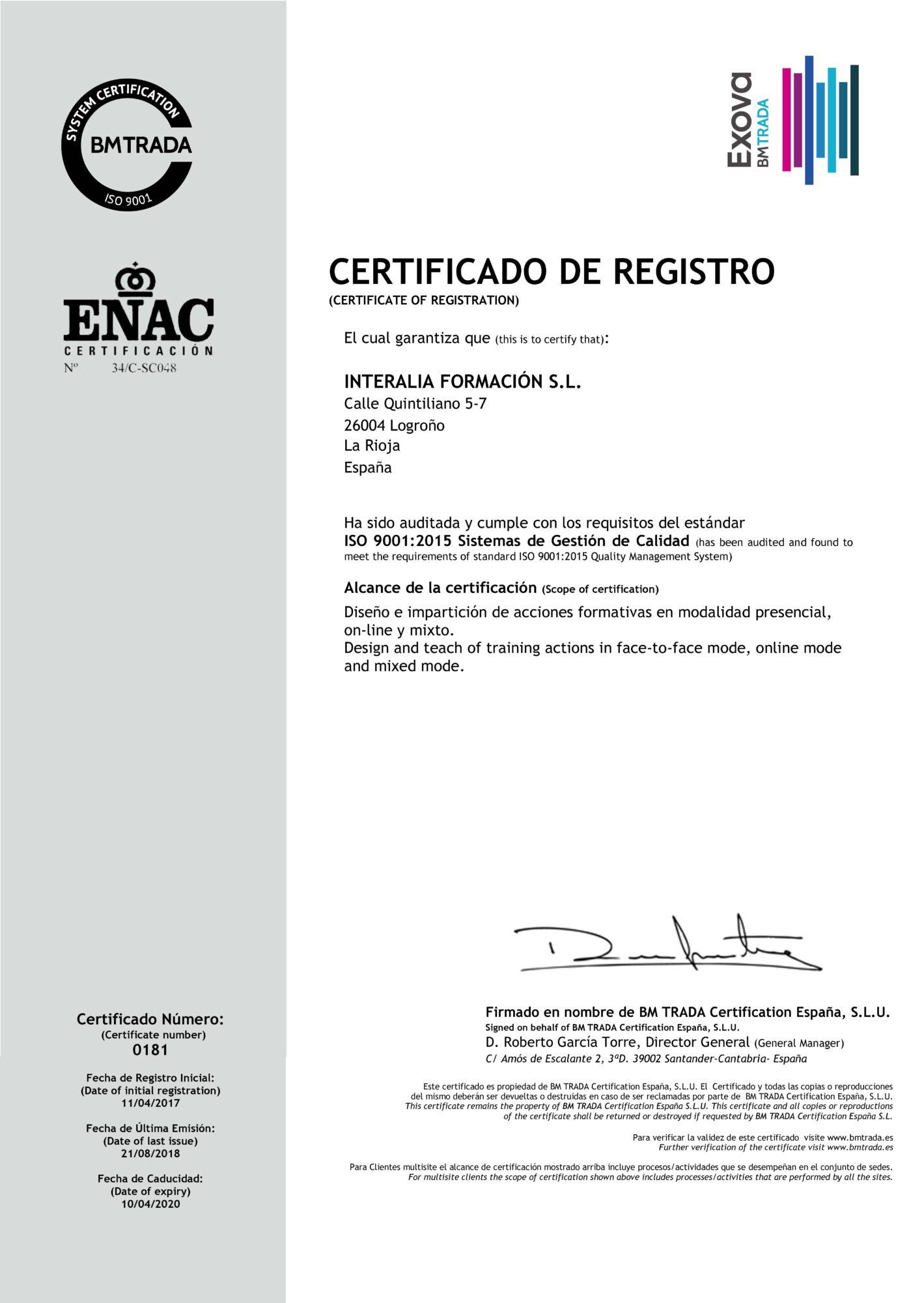 ISO 9001:2015 Sistemas de Gestión de Calidad